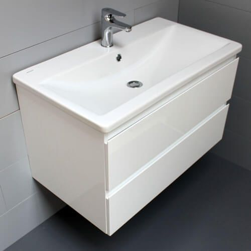 Meuble plan c ramique atlantic bain for Salle de bain meuble blanc