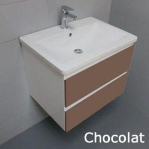 Meuble look 63 2 tiroirs et vasque c ramique atlantic bain - Meuble salle de bain chocolat ...