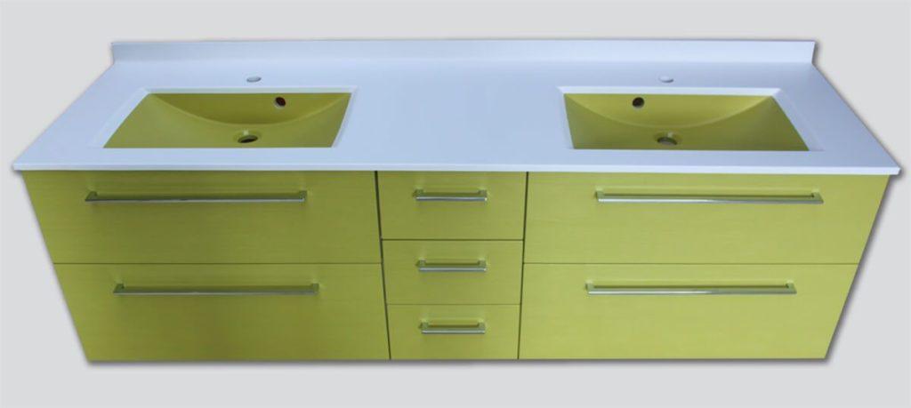 Meubles et vasques vert anis atlantic bain for Ou trouver meuble salle de bain