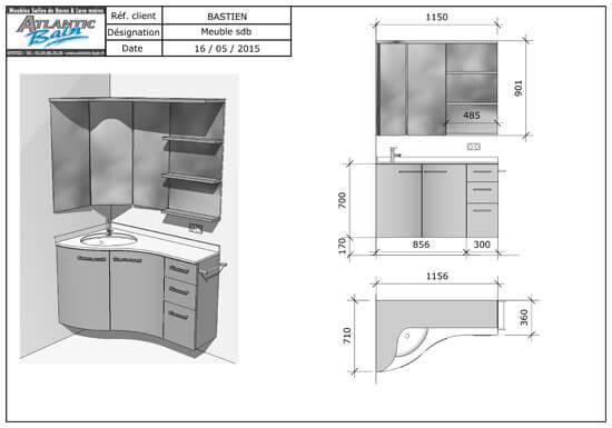 Un meuble version triangle pour s 39 adapter aux coins de la for Meuble de salle de bain en coin