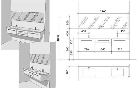 Une salle de bain noire et blanche chic et tendance for Dimension meuble sdb