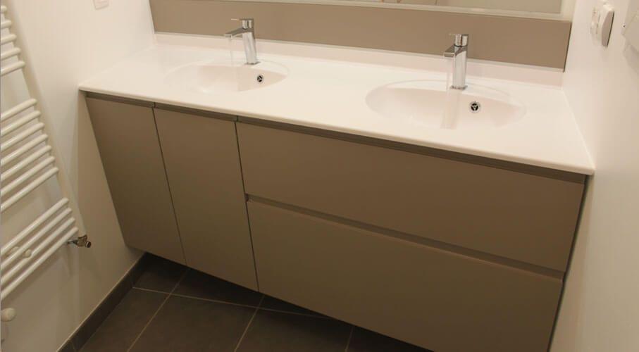 Meuble Double Vasque Encastr Entre 2 Murs En Biais