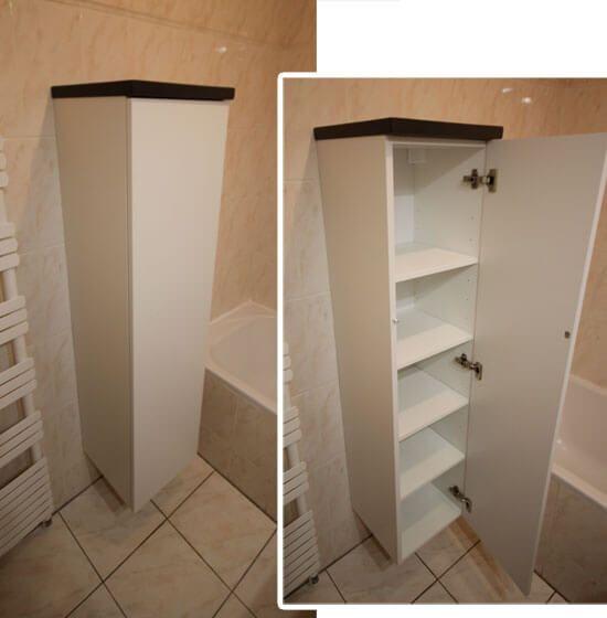 R novation du meuble de salle de bain avec un plan en for Colonne de salle de bain sur mesure