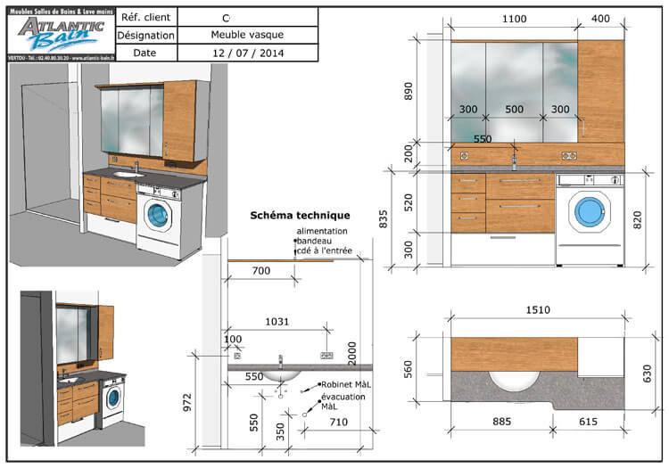 un lave linge dans la salle de bain et deux meubles sur. Black Bedroom Furniture Sets. Home Design Ideas