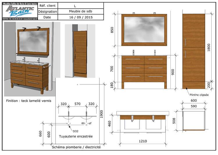 Un meuble teck lamell vernis avec un plan de toilette for Technique pour vieillir un meuble