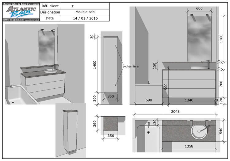 R novation du meuble de salle de bain avec un plan en for Plan de salle de bain