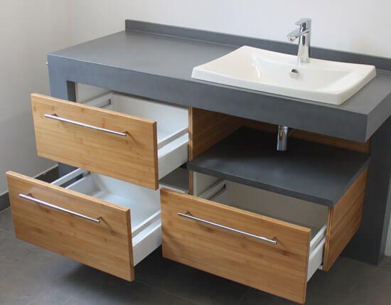 meuble b ton cir et bambou caramel avec lavabo c ramique. Black Bedroom Furniture Sets. Home Design Ideas