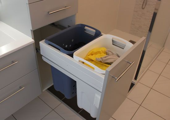 Meuble double vasque sous rampant avec panier linge - Panier salle de bain ...