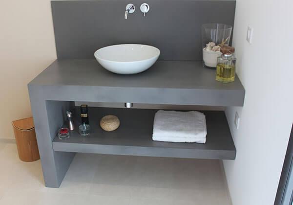 Meuble simple et design en b ton cir atlantic bain for Meuble beton cire