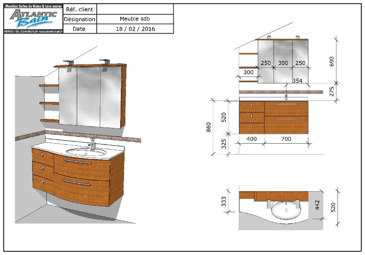 Un meuble galb en bambou massif sous rampant et un mini for Bambou dans salle de bain