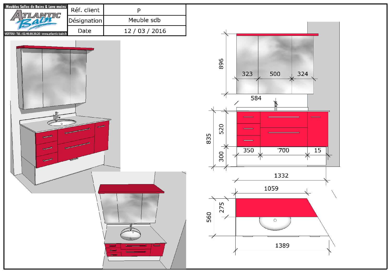Un meuble entre murs avec un angle ouvert 135 for Salle de bain sur mesure
