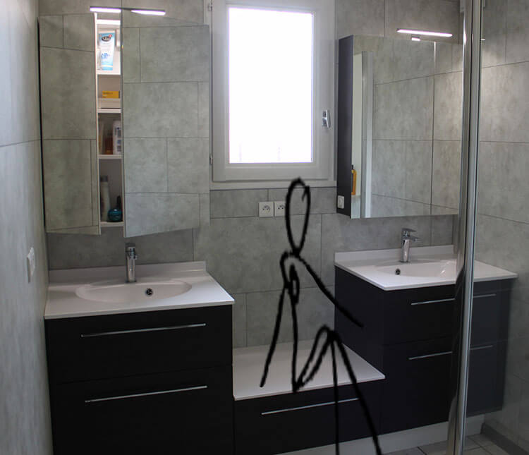 un meuble en d cal sur mesure autour d 39 une fen tre. Black Bedroom Furniture Sets. Home Design Ideas
