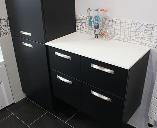 coiffeuse salle de bains noir et blanc
