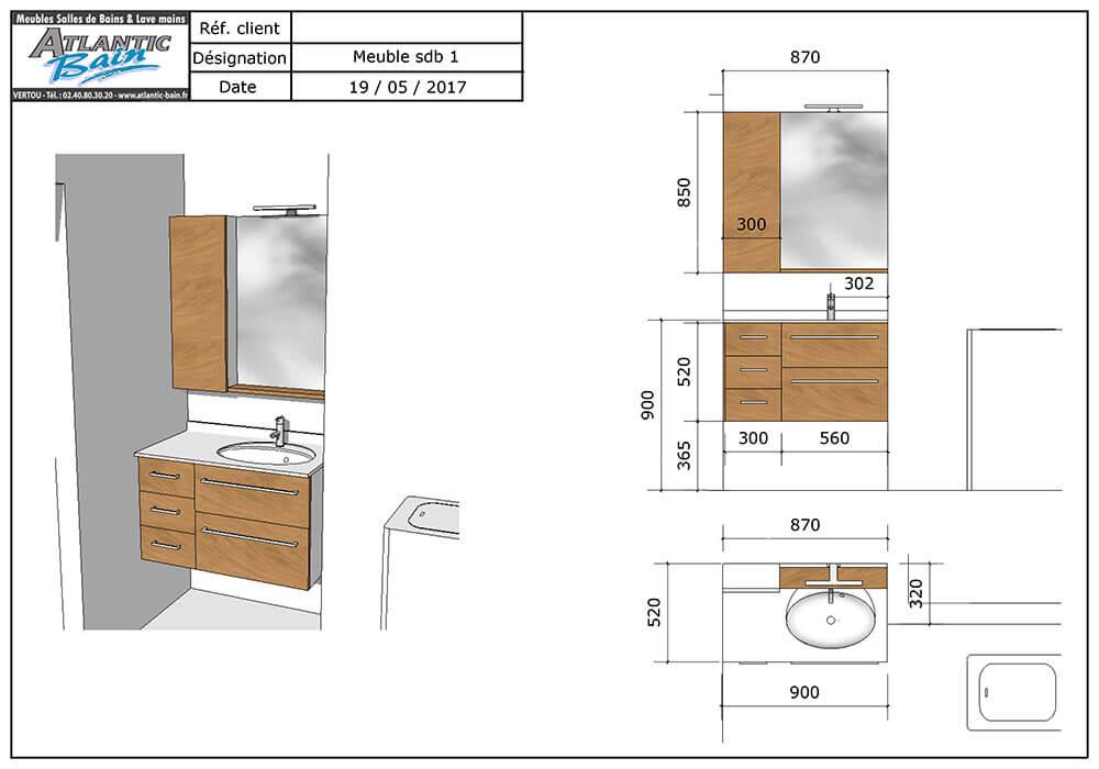 Un meuble sur mesure et fonctionnel ch ne gris et blanc atlantic bain - Lave linge de petite taille ...