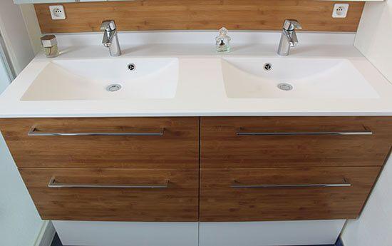 Du bambou massif pour ce meuble double vasques de 141 cm atlantic bain - Meuble salle de bain bambou ...