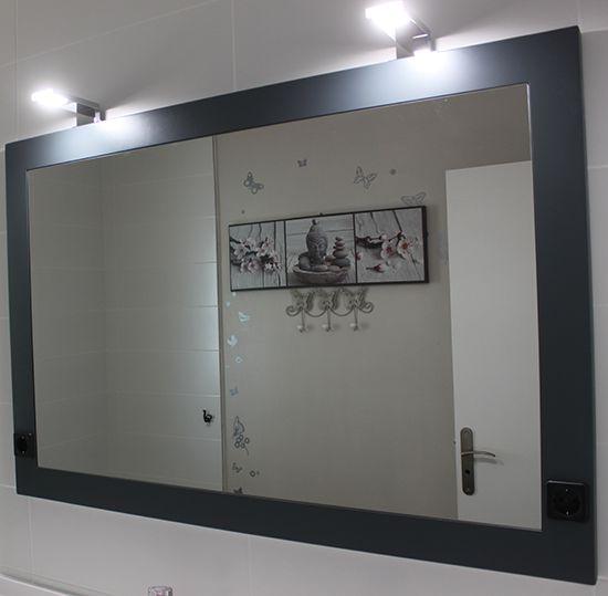 Grand meuble de salle de bain gris anthracite atlantic for Miroir salle de bain sur mesure