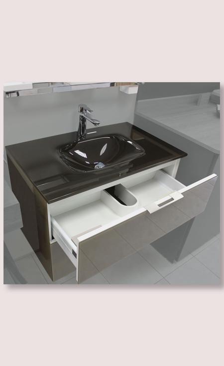 Meuble salle de bain verre brun 80 cm vasque moul e en for Meuble vasque solde