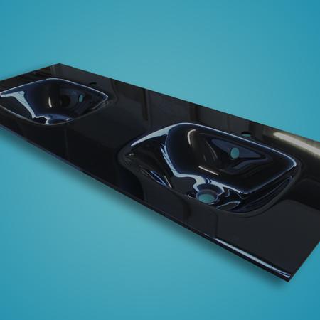 Plan Double Vasque Verre Noir 150x56cm Atlantic Bain
