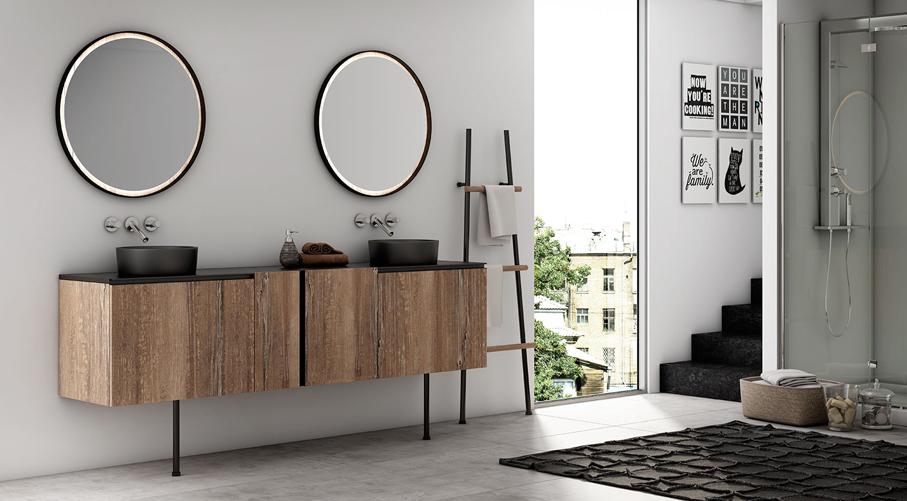 Meuble de salle de bain avec lave linge atlantic bain for Meuble salle de bain bois noir