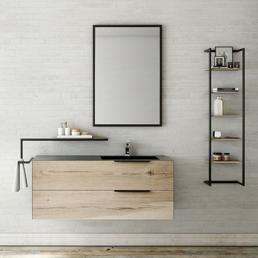 meubles de salle de bain urbain industriel bois m tal. Black Bedroom Furniture Sets. Home Design Ideas