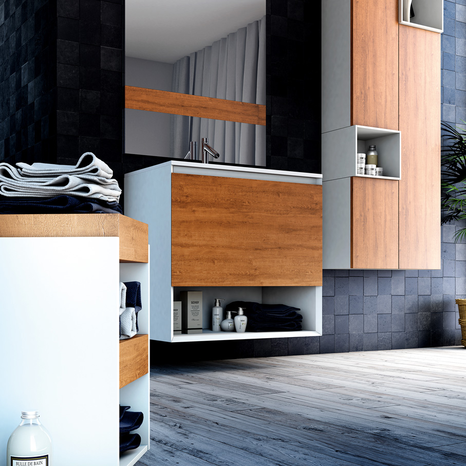meuble de salle de bain meubles avec grands rangements atlantic bain. Black Bedroom Furniture Sets. Home Design Ideas