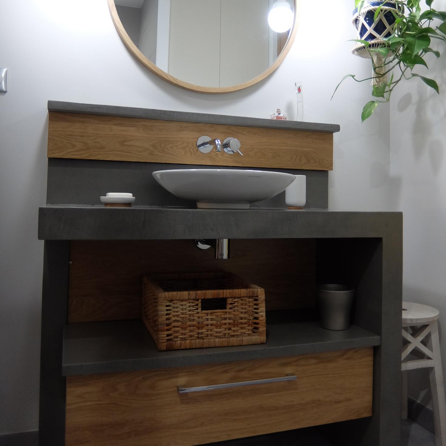 Meuble En Béton Ciré polaris | meuble de salle de bain béton ciré et chêne bois
