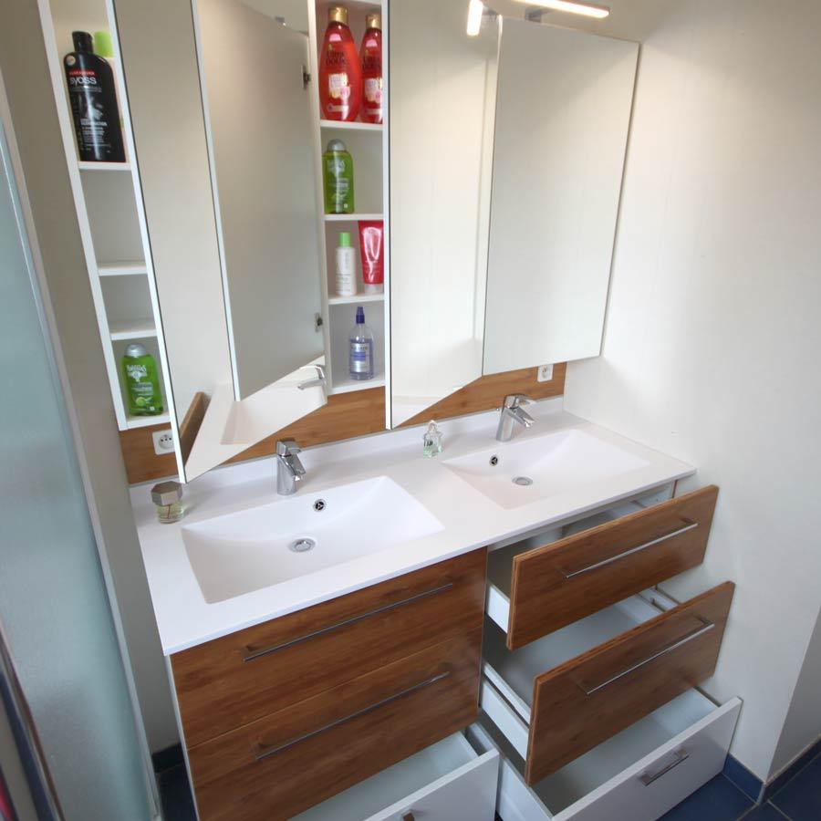 meuble salle de bains en bambou naturel