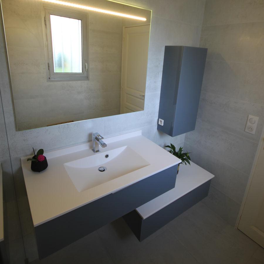 Meubles salle de bain plan en résine vasque moulée - Atlantic Bain
