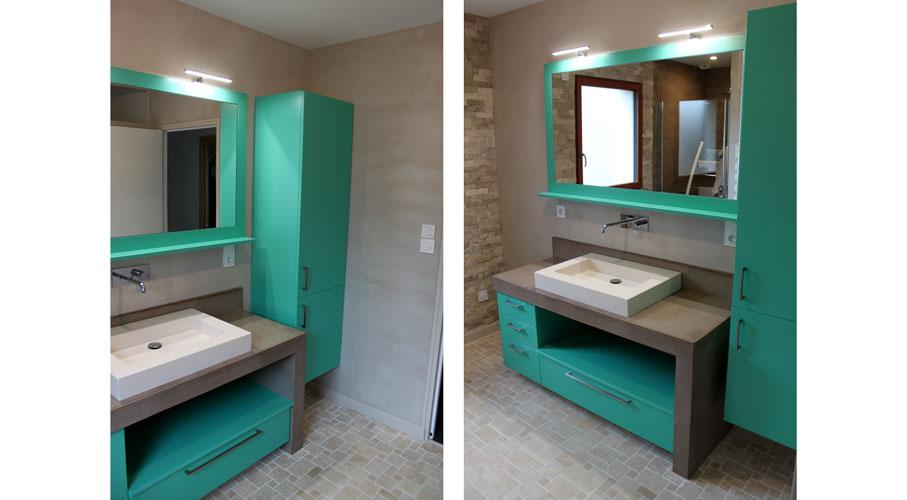 Rodia   Plan de Toilette béton ciré et Meubles couleur Turquoise