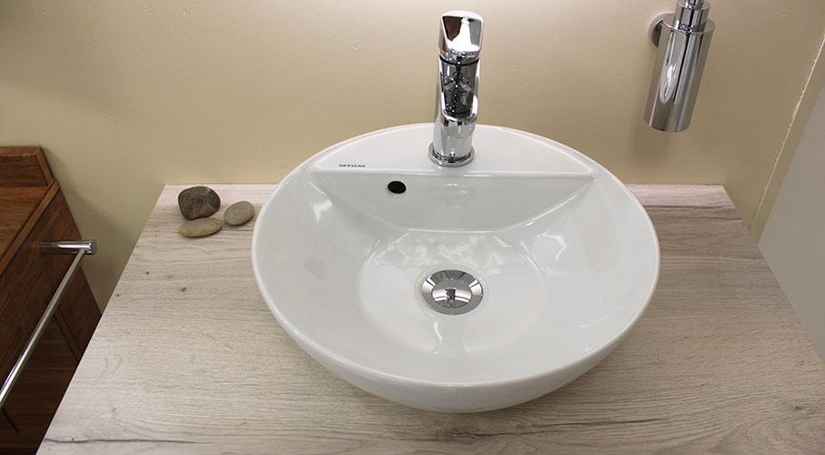 vasque ceramique plan bois blanc