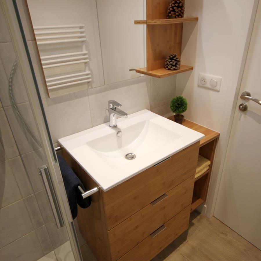 Bambou 60 solution agencement petite salle de bains bambou Petit meuble salle de bain bambou
