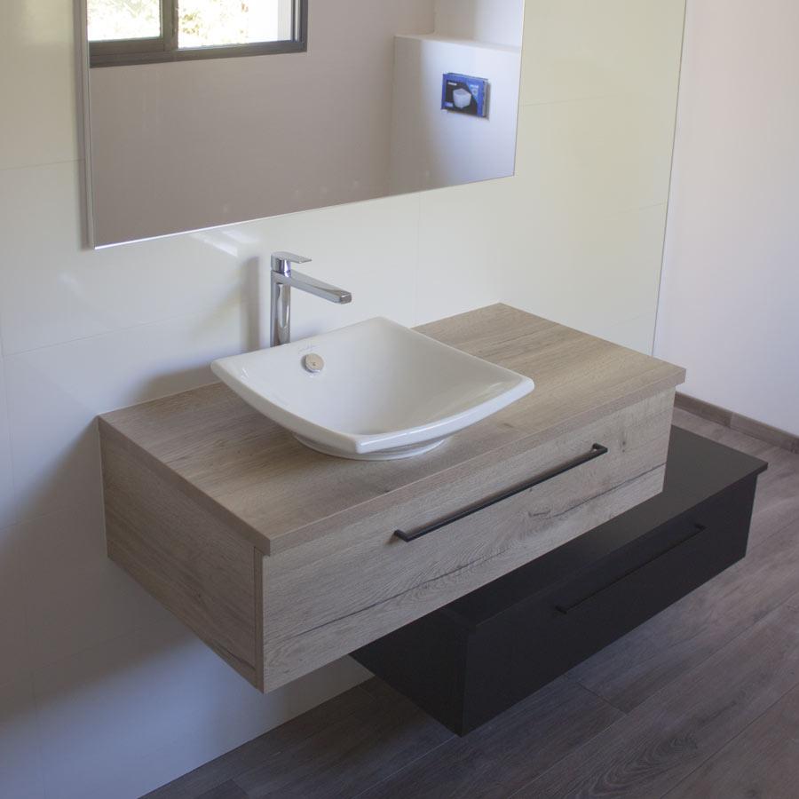 Atlantic Bain Morisseau Vertou joan meuble de salle de bains modulable noir et chêne