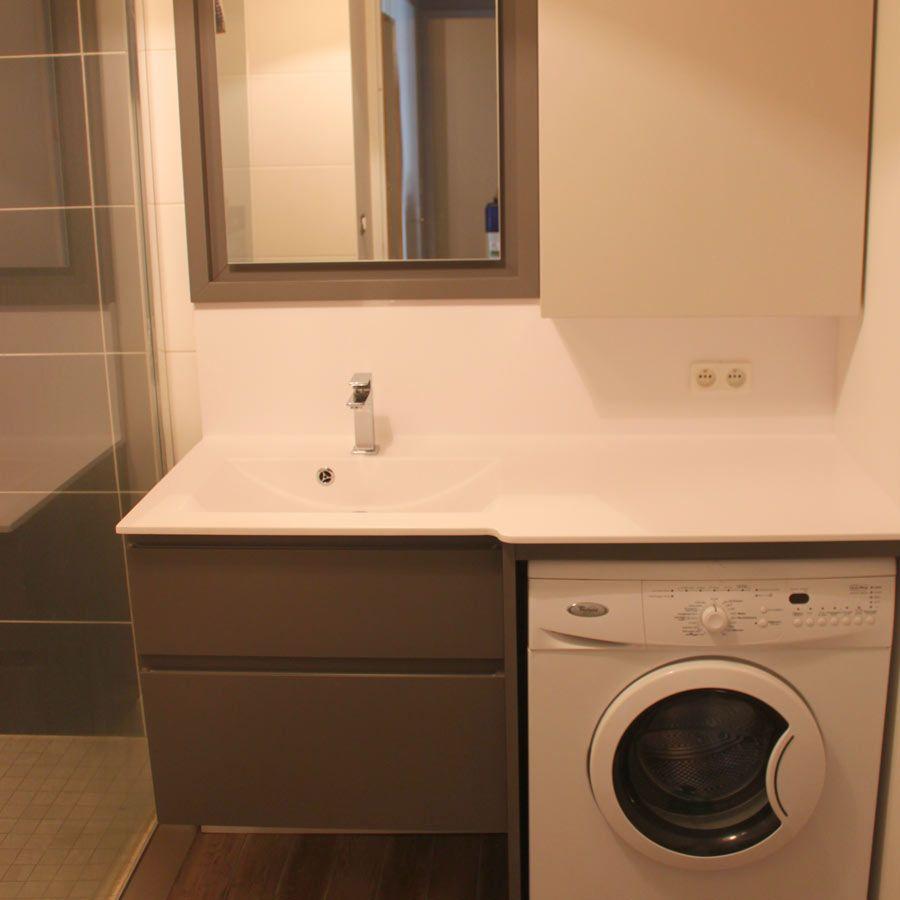 meuble salle de bain avec lave linge intégré modèle nolan