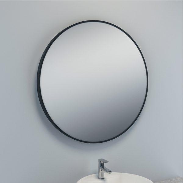 Miroir rond salle de bain entourage noir